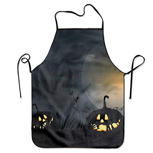 üchenschürze FnLiu Apron Kitchen Apron for Women Men Halloween Jack-o-Lantern Night Light Lock Edge Waterproof Durable String Adjustable Easy Care Aprons Pink Cooking Grilling Apro ()