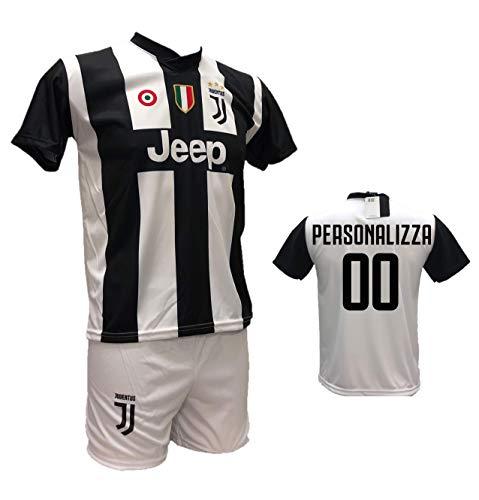 Completo Maglia Calcio Juventus Personalizzabile e Pantaloncino Bianco Replica autorizzata 2018-2019 Taglie Bambino e Adulto.Personalizza con Tuo Nome o Tuo Giocatore Preferito (8 Anni)
