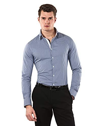 Vincenzo Boretti Herren-Hemd Body-Fit (besonders Slim-fit tailliert) kariert bügelleicht - Männer lang-arm Hemden für Anzug Krawatte Business Hochzeit Freizeit dunkelblau 39/40 Business-krawatte