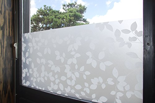 """Tamia-Livinhg Statische Fensterfolie 90% UV-Sonnenschutz Selbsthaftende Sichtschutzfolie Glasdekor """"Blätter Weiß"""" P022W (60x100cm)"""