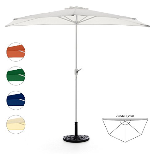 Sonnenschirm halbrund mit Schirmständer und Schirmschutzhülle Wandschirm Balkonschirm (Weiß), 270cm breit, 140cm tief, Polyester 160 g/m², Gewicht 5kg