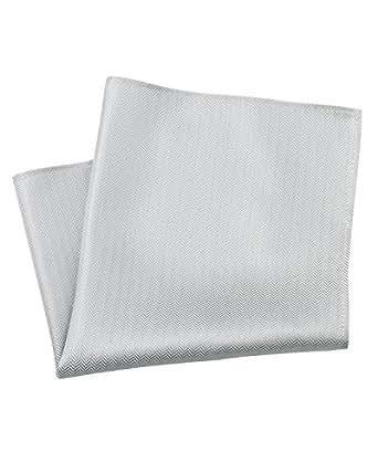 Savile Row Mens Silver Grey Herringbone Silk Handkerchief