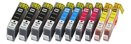 10XL Cartuchos de impresora con chip compatible para HP 364X L con indicador HP Officejet 4620, HP Officejet 4622e, HP Photosmart 5510, 5510eaio, 5515, 5515eAiO, 5520, 5520eaio, 5525eAiO, 6510, 6510eAiO, 6520, 6520eaio, 7510, 7510eaio, 7520, 7520eaio, eStation (C510a), fax C410, Plus Premium, Premium Fax, Pro B8550, Pro B8553, Pro B8558, Wireless