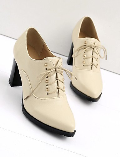 ZQ Scarpe Donna - Stringate - Tempo libero / Ufficio e lavoro / Formale - Comoda / A punta - Quadrato - Finta pelle - Nero / Marrone / Beige , brown-us6 / eu36 / uk4 / cn36 , brown-us6 / eu36 / uk4 /  brown-us6.5-7 / eu37 / uk4.5-5 / cn37
