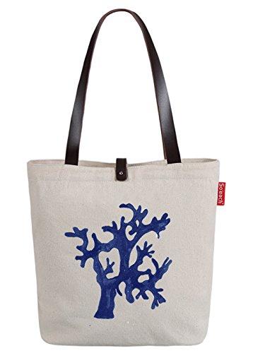 So'each Women's Sea Plants Letters Letters Top Handle Canvas Tote Shoulder Bag Natural Color