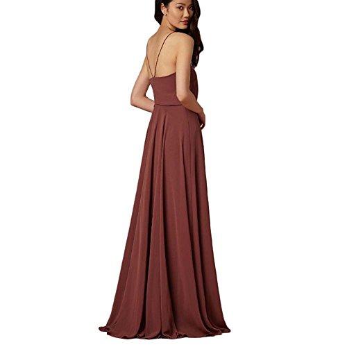 WADAYUYU Damen Elegant Chiffon Einfache Spaghetti Straps Flowy lange Brautjungfer Abendkleider Partykleider Festkleider Tanzenkleider Rosa2
