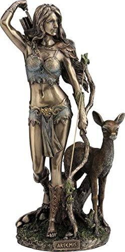 Griechisch/Römische Göttin Artemis/Diana Hunter mit Bogen und Hirsch (Dekorative Bronzestatue, Figur, Skulptur 25cm)