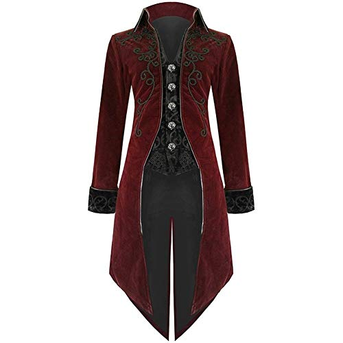 SuperSU Mode Herren Frack Jacke Gothic Steampunk Uniform Kostüm Party Outwear Mantel Jacke Vintage Viktorianischen Langer Mantel Kostüm Cosplay Kostüm Smoking Jacke Uniform Fleece Uniform