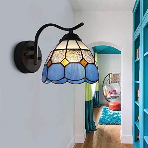 YALANDA Tiffany Style Wall Light, Mediterranean Blue Diamond Glass Mirror Front Wall Lampe, Bedroom Bedside Aisle Decoration Night Light E27,Black