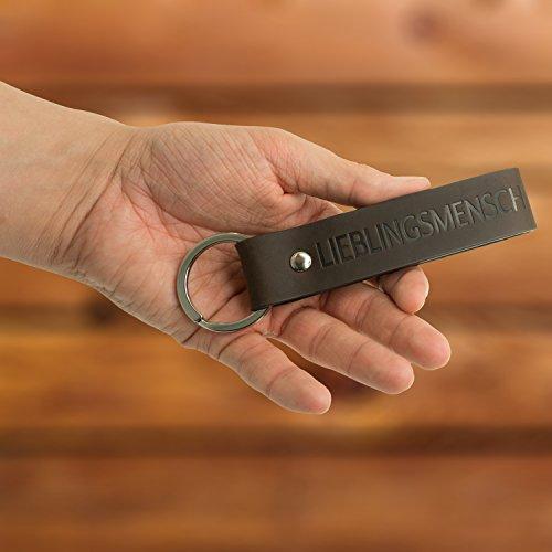 Schlüsselanhänger - mit Gravur 'Lieblingsmensch' - echtes Leder - Accessoire - das perfekte Geschenk für Damen & Herren - sehr edle Haptik - Design-Schlüsselring - eine Geschenkidee von Luminick®