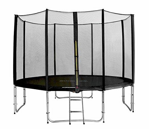 SixBros. SixJump 3,70 Meter Trampolino Per Il Giardino Nero - Scaletta - Rete Di Sicurezza - Copertura Anti-pioggia TS370/1938