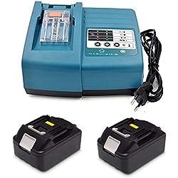Chargeur de rechange avec 2 batteries 18 V 3,0 Ah pour radio de chantier Makita DMR100 DMR108 DMR107 DMR106 DMR106B DMR102 DMR104 DMR110 DMR101 DMR103B BMR102 BMR100 BMR104 18 V