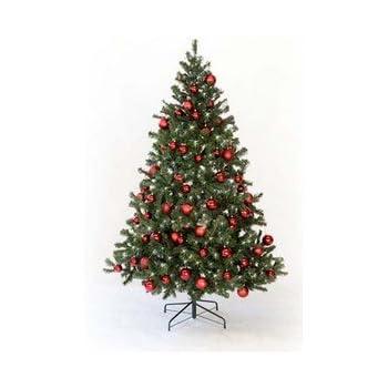 k nstlicher weihnachtsbaum mit christbaumkugeln rot farbig h he 210cm mit beleuchtung amazon. Black Bedroom Furniture Sets. Home Design Ideas