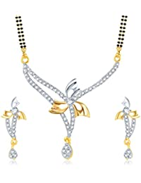 Amaal Mangalsutra Pendant Set With Earrings For Women Girls Jewellery Set Gold Plated In Cz American Diamond MSPT0119