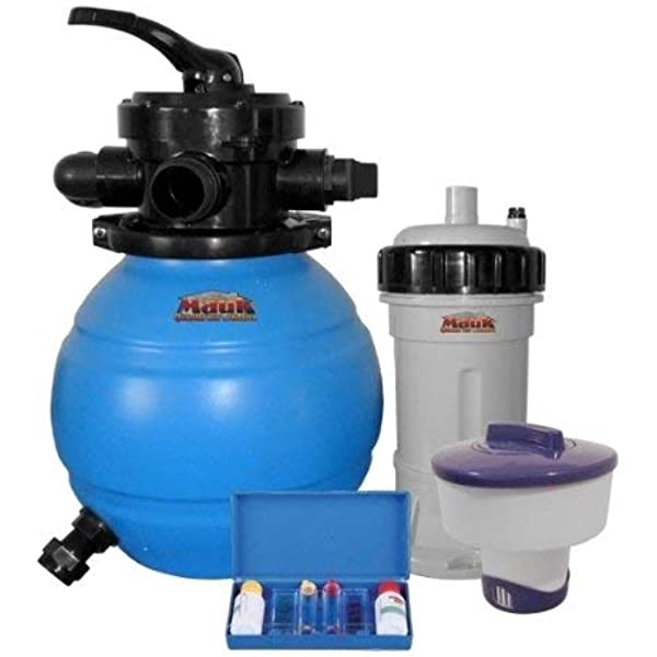 Mauk 1601 Sand Filter System 90 W with Dispenser and Chlorine Testing Kit 12 L