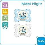 MAM Night Latex Schnuller im 2er-Set, leuchtender Baby Schnuller, kiefergerechtes & symmetrisches Design mit Schnullerbox, 0 - 6 Monate, blau