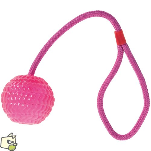 Karlie Flamingo Hundespielzeug Tpr Ball mit Wurfseil Farblich Sortiert Durchmesser 7 cm