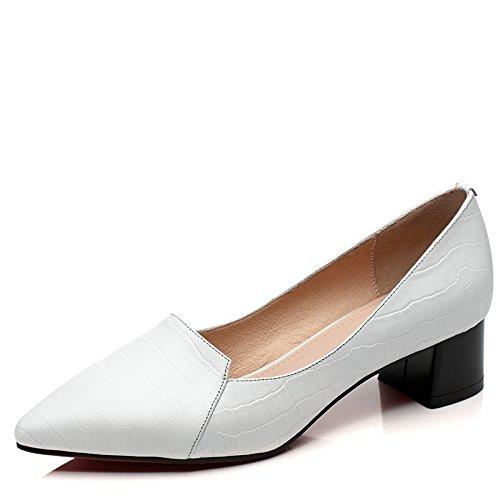 WSS chaussures à talon haut Chaussures de cuir rugueux femelle clair avec des chaussures pointues faible aidé professionnel féminin White