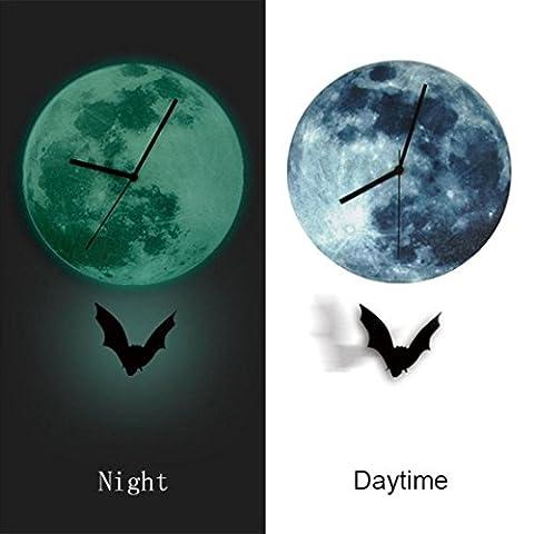 Gaddrt Halloween nuit lunaire horloge Cartoon lumineux lune horloge murale