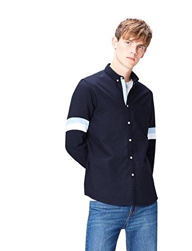 FIND Herren Schmal Geschnittenes Oxford-Hemd mit Gestreiften Ärmeln, Blau (Striped), Small (Gestreiftes Oxford-hemd Blau)