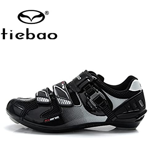MaMaison007 Bicicletas de ruta bicicletas zapatos al aire libre deporte ciclismo pedales automáticos de zapatos zapatos - negro y plata 9