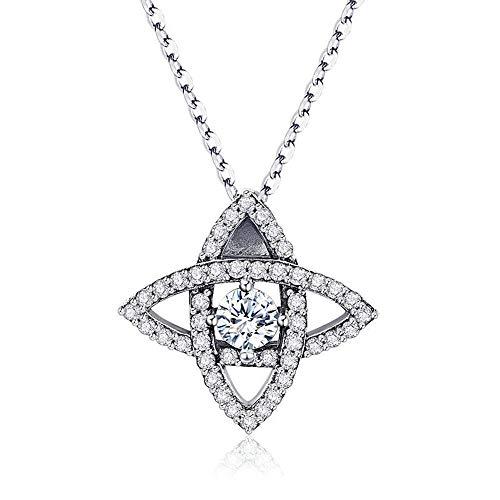 LVYE1 Vierzackiger Stern Halskette 925 Sterling Silber Halskette Frauen/Mädchen Halskette Zirkonia Frauen Für ()