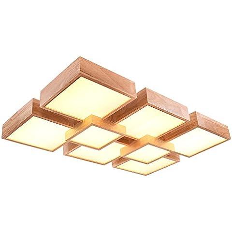 YUPD@Lampada da soffitto Plafoniere Legno massello led lampada da soffitto , (6+2) 112w 970*620 warm (Acquario Light Fixtures)