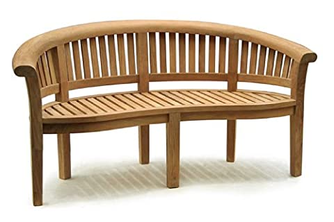 Deluxe Teak Banana Bench - Curved Wooden Benches with 12cm Deep Scrolled Top Rail - Jati Brand, Quality & Value
