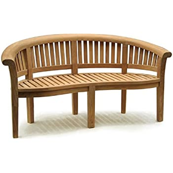 Deluxe Teak Banana Bench Curved Wooden Benches With 12cm