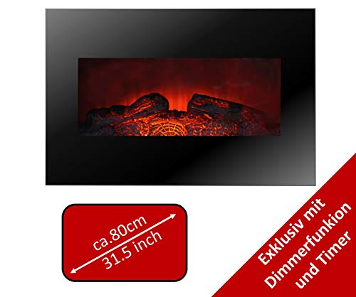 JUNG MEMPHIS Elektrokamin mit Heizung, Wandkamin mit 1800W, LED Kaminofen Kaminfeuer mit Feuereffekt, Dekokamin Elektroheizung, Elektrischer Kamin,inkl. Fernbedienung, Glasfront, Dimmer,Thermostat