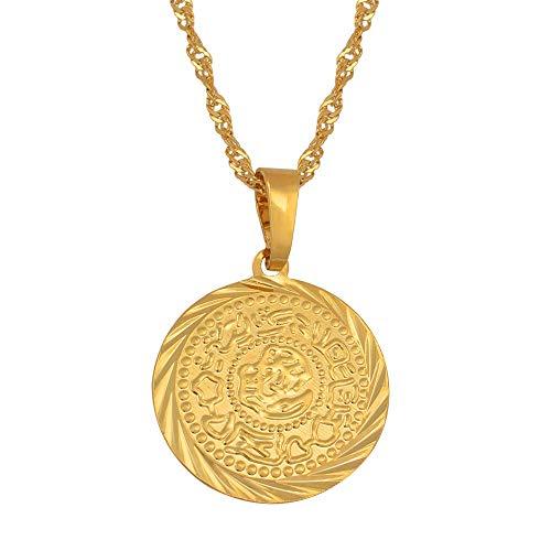 Formen Maker Herr Kostüm - DADATU Halsketten für Herren Münze Charm Anhänger Halsketten Gold Farbe Arabischen Afrikanischen Geld Zeichen Kette Schmuck Nahöstlichen Münze Geld Maker Geschenk 45cm