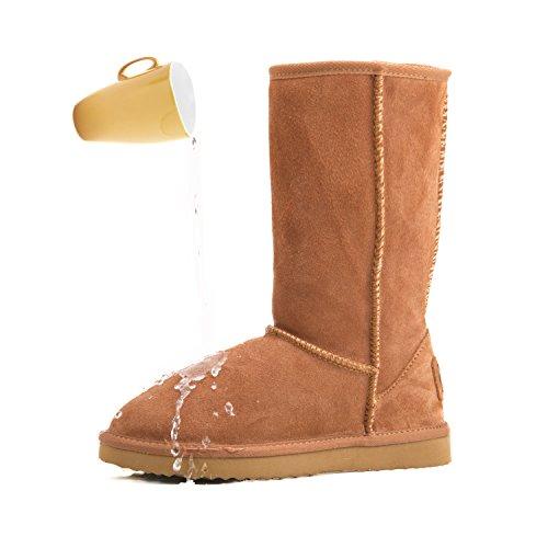 Shenduo Bottes femme hiver cuir(daim) imperméable, Boots fourrées hautes Waterproof doublure chaude D5115 Marron