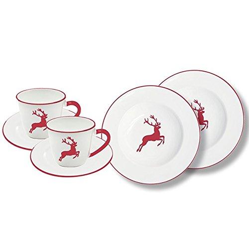 Gmundner Keramik Manufaktur 0318STSG06SET rubinroter Hirsch Breakfast for Two Gourmet,