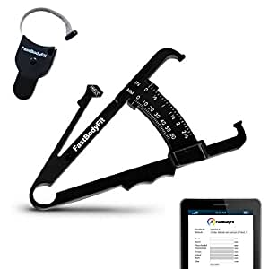FastBodyFit Körperfettmessgerät und Körper-Massband mit Software. NEUE stabile & modifizierte Premium-Ausführung zum Körperfett-anteil messen von FastBodyFit. Unkompliziert und mit Video Anleitung. Die Körperfettzange Caliper (Zange + Maßband)