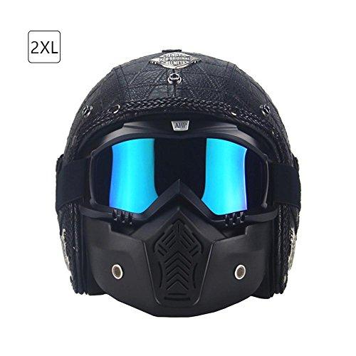 Retro Handgemacht Mortorradhelm 3/4 Helm Schutzhelm Rollerhelm Sommerhelm mit PU Leder Pufferschicht für Männer und Frauen Größe XXL