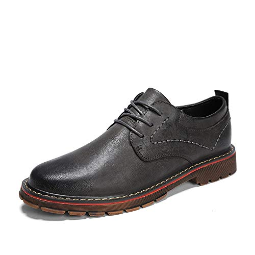 Hilotu scarpe da sera in pelle da uomo modern lace up round cap toe formal casual dress oxfords scarpe per uomo (color : grigio, dimensione : 43 eu)
