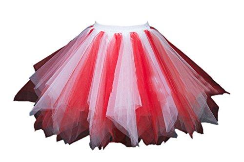 (Honeystore Damen's Tutu Unterkleid Rock Abschlussball Abend Gelegenheit Zubehör Rot und Weiß)