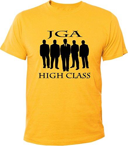Mister Merchandise Herren Men T-Shirt JGA - High Class Tee Shirt bedruckt Gelb
