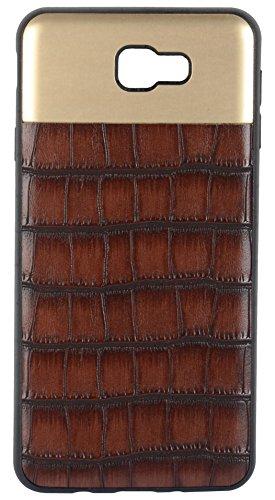 Sanchar's Crocodile Leather Pattern Back Case for Samsung J7 Prime (Dark Brown)