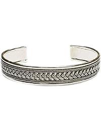 TreasureBay Quality Men's Sterling Silver Bangle Bracelet adjustable size 29.2grams