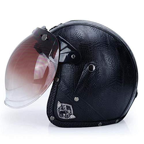 Qiutianchen Casco moto Vintage Harley Casco moto casco incrociatore 3/4 in pelle Casco moto jet aperto Jet Casco motociclistico@Modello nero con lente a bolle_L