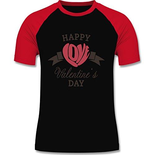 Valentinstag - Happy Valentine's Day Herz Love Typographie - zweifarbiges Baseballshirt für Männer Schwarz/Rot