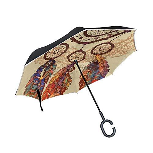 BIGJOKE Paraguas invertido de doble capa, atrapasueños, étnico, tribal, plumas, bohemio, reverso, resistente al viento, resistente al agua, para auto, al aire libre, viajes, adultos, hombres y mujeres