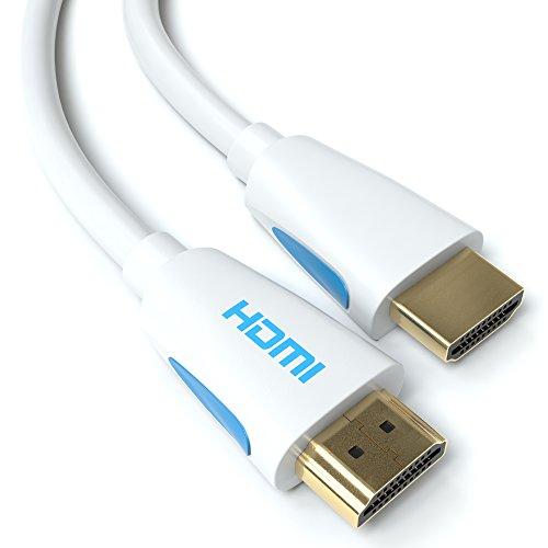 4m HDMI Kabel Weiß 1.4a / 2.0 Ultra HD 4k| High Speed with Ethernet | neues Modell 3 fach geschirmt / inkl. Stecker- und Kontaktschirmung | 4K Ultra HD 2160p / Full HD 1080p | 3D / ARC / CEC | weiss vier Meter Hdmi-kabel Lcd