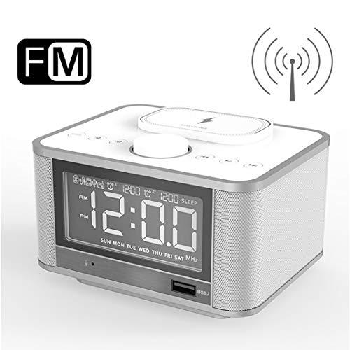 FENGCLOCK Drahtloses Aufladen von Bluetooth-Lautsprechern Wecker Digital Funkuhr, LED-Anzeige elektronischer Wecker, FM Radio/Bluetooth-Wiedergabe/TF-Kartenwiedergabe,White Stereo-intercom-panel