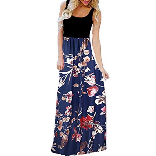 oser Strandkleid Cocktailkleid Sommer Blumenblumen O-Neck Druck Maxi Tank Langes Kleid Party Kleid Zolimx ()