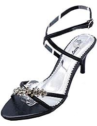 423f023e78c Ladies Black Kitten Heel Strappy Evening Diamante Elegant Sandals Shoes  Sizes 3-8