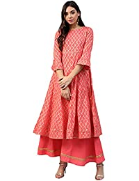 Bhama Couture Women's cotton Anarkali Salwar Suit Set (Pack of 2