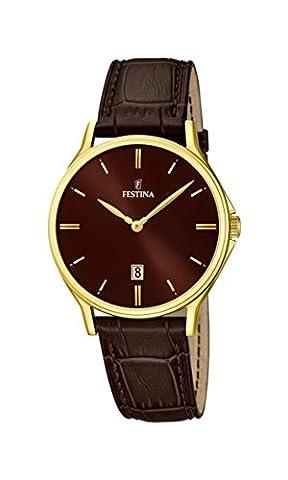 Festina Herren-Armbanduhr XL Analog Quarz Leder