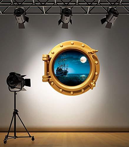 Volle Farbe Messing Bullauge Piratenschiff unter Wasser Badezimmer Kinder Schlafzimmer Wandsticker Aufkleber Meer Ozean Dekoration - Medium